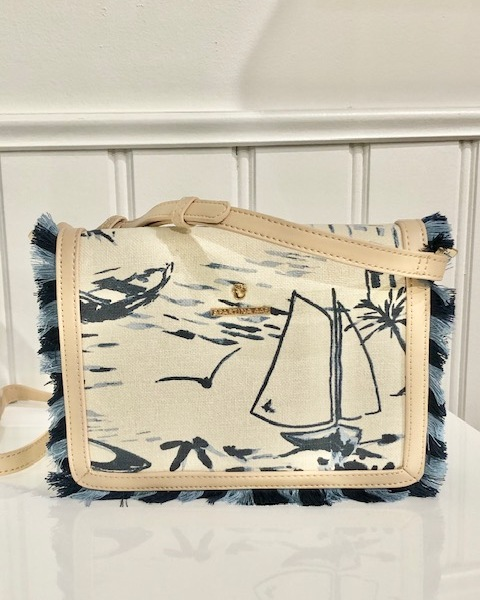 Spartina Linen Seascape Fringe crossbody bag Linen Seascape Fringe Satchel